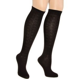 Black Diamond Pointelle Knee High Socks